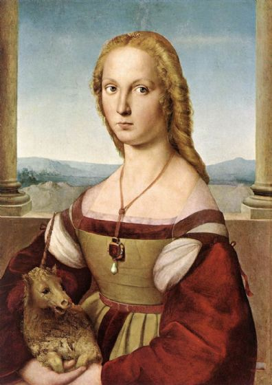 Raphael (Raffaello Sanzio of Urbino): Portrait of a Lady with a Unicorn. Fine Art Print/Poster. Sizes: A4/A3/A2/A1 (001292)